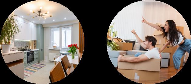 dos imágenes circulares: propiedad y compradores